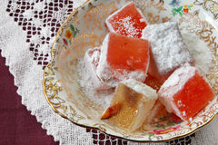 Turkish Delight. Small gilded bowl of Turkish delight. Delicious sweet treats stock photos