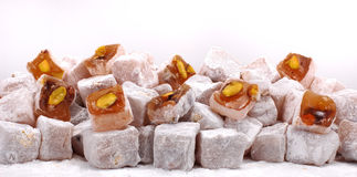 Turkish delight. Fresh turkish delight isolated at white background royalty free stock photo