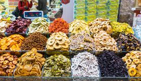 Turkish delight, also known as lokum, sold in the famous Spice Bazaar in Istanbul. Spice Bazaar in Istanbul so famous for selling multi kinds of Turkish delight stock photo