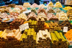 Turkish delight, also known as lokum, sold in the famous Spice Bazaar in Istanbul. stock photos