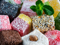 Turkish delight assorted close up Royalty Free Stock Photos