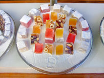 Turkish Delight. An assortment of Turkish delight in caster sugar stock image
