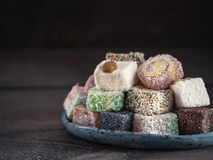 Turkish delight assortment, copy space Royalty Free Stock Photography