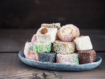 Turkish delight assortment, copy space Royalty Free Stock Image