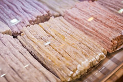 Turkish  Delight in the assortment in the shop window Royalty Free Stock Photos