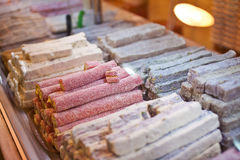 Turkish  Delight in the assortment in the shop window Stock Photography