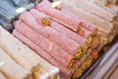 Turkish  Delight in the assortment in the shop window.  Royalty Free Stock Photos