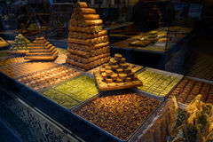 Turkish delight, baklava. Showcases, eastern sweets stock photos