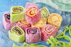 Turkish delight. On a blue background stock photo