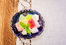 Turkish Delight on a Blue Plate Stock Image