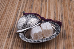 Turkish delight Box. Inside delicious turkish delights Stock Photography