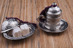 Turkish delight Box  and turkish coffee cup. Inside delicious turkish delights Royalty Free Stock Images