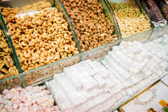 Turkish delight and candied nuts Stock Photos