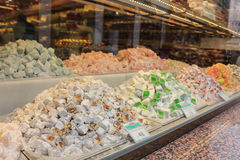 Turkish delight candies in storefront Stock Photo
