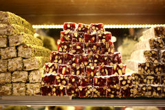 Turkish delight. Close up. Sale of delicious desserts National handmade Egyptian Grand Bazaar in Turkey Stock Photography