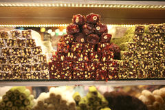 Turkish delight. Close up. Sale of delicious desserts National handmade Egyptian Grand Bazaar in Turkey Royalty Free Stock Image