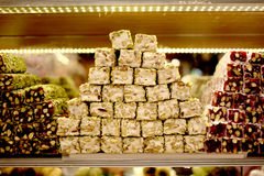 Turkish delight. Close up. Sale of delicious desserts National handmade Egyptian Grand Bazaar in Turkey Stock Photo