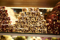 Turkish Delight. Close up. Sale of delicious desserts National handmade Egyptian Grand Bazaar in Turkey Stock Photos
