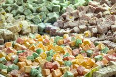 Turkish delight. Close up shot of some turkish delight stock image