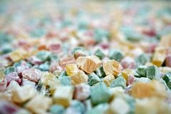 Turkish delight closeup. Closeup of turkish delight jelly pieces in various colors Stock Photography