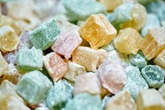 Turkish delight closeup. Closeup of turkish delight jelly pieces in various colors Stock Photo
