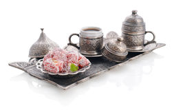 Turkish delight with coffee Stock Image