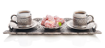 Turkish delight with coffee Royalty Free Stock Image