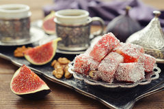 Turkish delight with coffee Royalty Free Stock Photos
