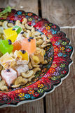 Turkish delight with colorful chocolate seeds and Stock Photography