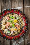 Turkish delight with colorful chocolate seeds and Stock Images