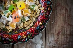 Turkish delight with colorful chocolate seeds and Stock Photos