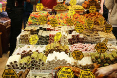 Turkish Delight. In Covered bazaar in Istanbul stock photo