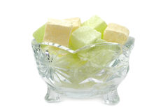 Turkish Delight in a crystal glass bowl isolated on white background Stock Photography