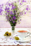 Turkish delight and  cup of tea Royalty Free Stock Image