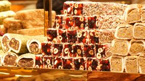 Turkish delight for dessert. Lokum dish on sale in Istanbul food store.Traditional sweet locum. Lot of different. Turkish delight for dessert. Lokum dish on sale stock video footage