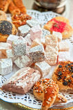 Turkish delight dessert. (rahat lokum) different colors, and baklava stock photo