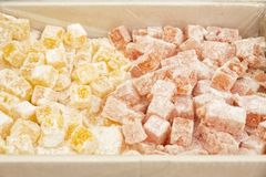 Turkish delight on display. On a market in France, Europe stock images