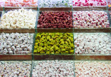 Turkish delight. In food bazaar in Istanbul, Turkey royalty free stock photo