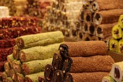 Turkish Delight. Freshly prepared Turkish Delight for sale at the Egyptian Market in Istanbul, Turkey royalty free stock photo