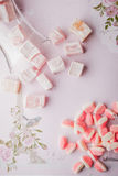 Turkish delight and fruit jellies on the romantic pink background Stock Photography