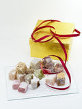 Turkish delight with gift box. Turkish delight or rahat lokum assortment with golden gift box Stock Photos