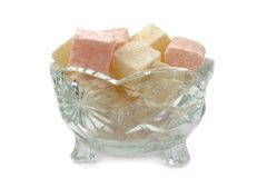 Turkish Delight in glass bowl Stock Photos