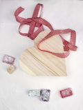 Turkish delight with a  heart shaped gift box and ribbon Royalty Free Stock Photos