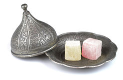 Turkish Delight In Traditional Ottoman Style Carved Patterned Metal Plate, Isolated On White Background Stock Image