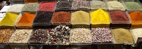 Turkish delight spices and teas royalty free stock photo