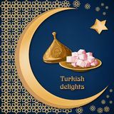 Turkish delight locum on decorated copper plate with text, arabic ornament, moon and star on dark blue background. Ramadan kareem greeting card template royalty free illustration