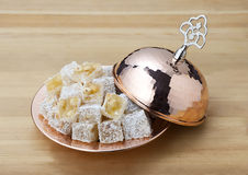 Turkish delight. Lokum or rahat lokum and many other transliterations is a family of confections based on a gel of starch and sugar Stock Photography