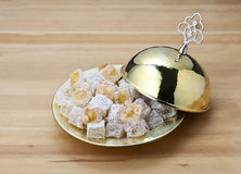 Turkish delight. Lokum or rahat lokum and many other transliterations is a family of confections based on a gel of starch and sugar Stock Image