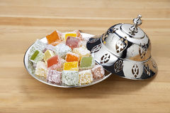 Turkish delight. Lokum or rahat lokum and many other transliterations is a family of confections based on a gel of starch and sugar Royalty Free Stock Photography