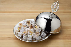 Turkish delight. Lokum or rahat lokum and many other transliterations is a family of confections based on a gel of starch and sugar Royalty Free Stock Images